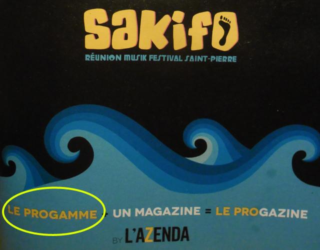 Couverture de l'Azenda pour le programme du Sakifo 2013