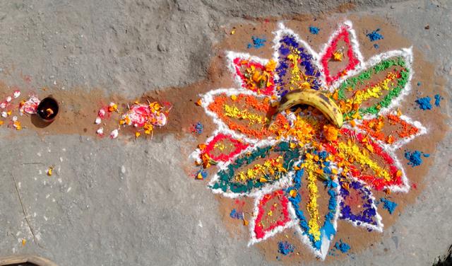 Un mandala devant un magasin de Pulchowk, Lalitpur - 3 novembre 2013