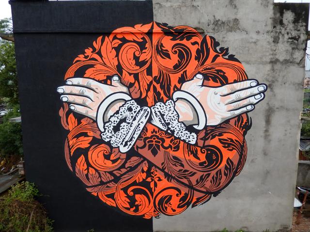 Apsara Composition conçue par Chifumi à l'Alliance française de Katmandou, Népal pour le Rootdown festival Street Art